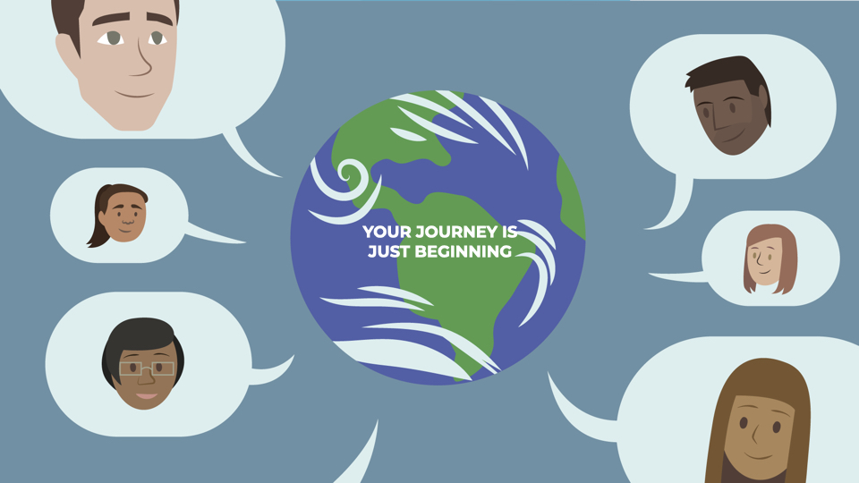 """Globe saying """"Your Journey is Beginning"""""""
