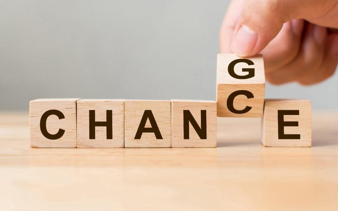 Scrabble letters spelling Change